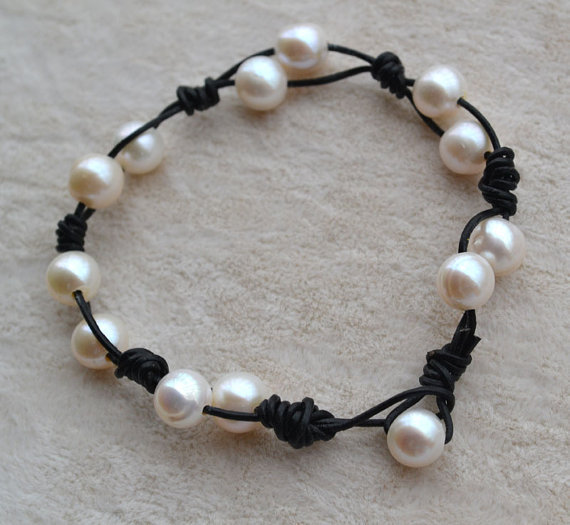 Stunning Pearl Jewelry,AA 7-8MM 7 Inch Ivory Potato Shape 100% Real Freshwater Pearl Bracelet,Natural Pearl Jewelry.