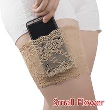 1PC Thigh Bands  Sexy Lace Flower Women Anti-skid Sock Garters Leg Warmers Black Summer Warmer Cuffs Phone Pocket