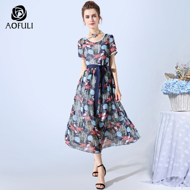 6fd242b4fa840 AOFULI S- XXXL 4XL 5XL Boho Women Print Dress Summer Floral Chiffon Beach  Sundress Blue