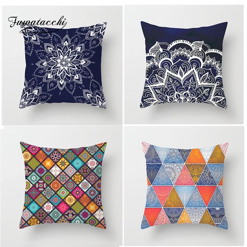 Fuwatacchi géométrique Mandala housse de coussin tissé géométrique Patchwork taie d'oreiller diamant fleur décor à la maison accessoires