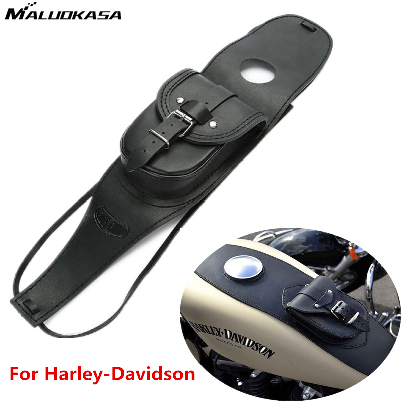 MALUOKASA Leather Tank Bag Moto Cover Panel Pad Bib With Pouch For Harley SPORTSTER Iron 883 1200 Forty Eight XL1200X XLH1200