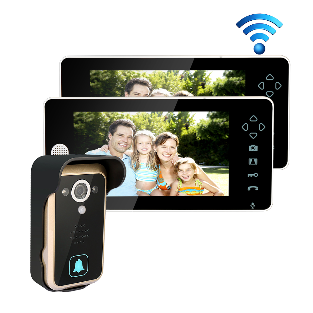 MILEVIEW 2.4G Wireless 7 Touch Color TFT LCD Video Door Phone Intercom System 1Outdoor Doorbell Camera 2 Screens Free Shipping new 7 tft lcd video door phone intercom doorbell system 4 monitor screens 1 outdoor camera door bell for 4 families apartment