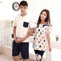 Quente Novo de algodão Conjuntos de pijama Sleepwear amantes casais matching agasalho Homens/mulheres Estilo verão Pijama Define frete grátis