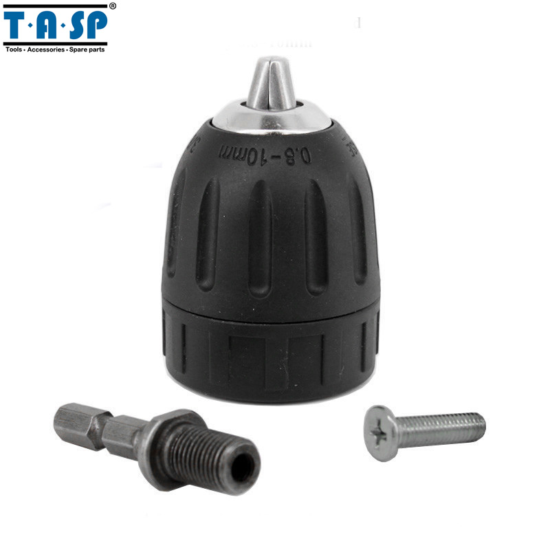 TASP 10mm Keyless Drill Chuck 3/8 24UNF with Adaptor for Drills and Screwdrivers Power Tools Accessories high quality 4 in 1 drill chuck key for drills drill presses sizes 6 9 10 13 mm universal fit new arrival