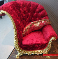 High End Club Studio Russian Style Sofa Glass Coffee Table Corner Red Solid Stool Living Room
