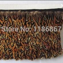 10 ярдов/партия высота: 5-6 см Натуральная накидка из перьев фазана бахрома отделочная лента костюм со шляпкой отделка крафт коричневый