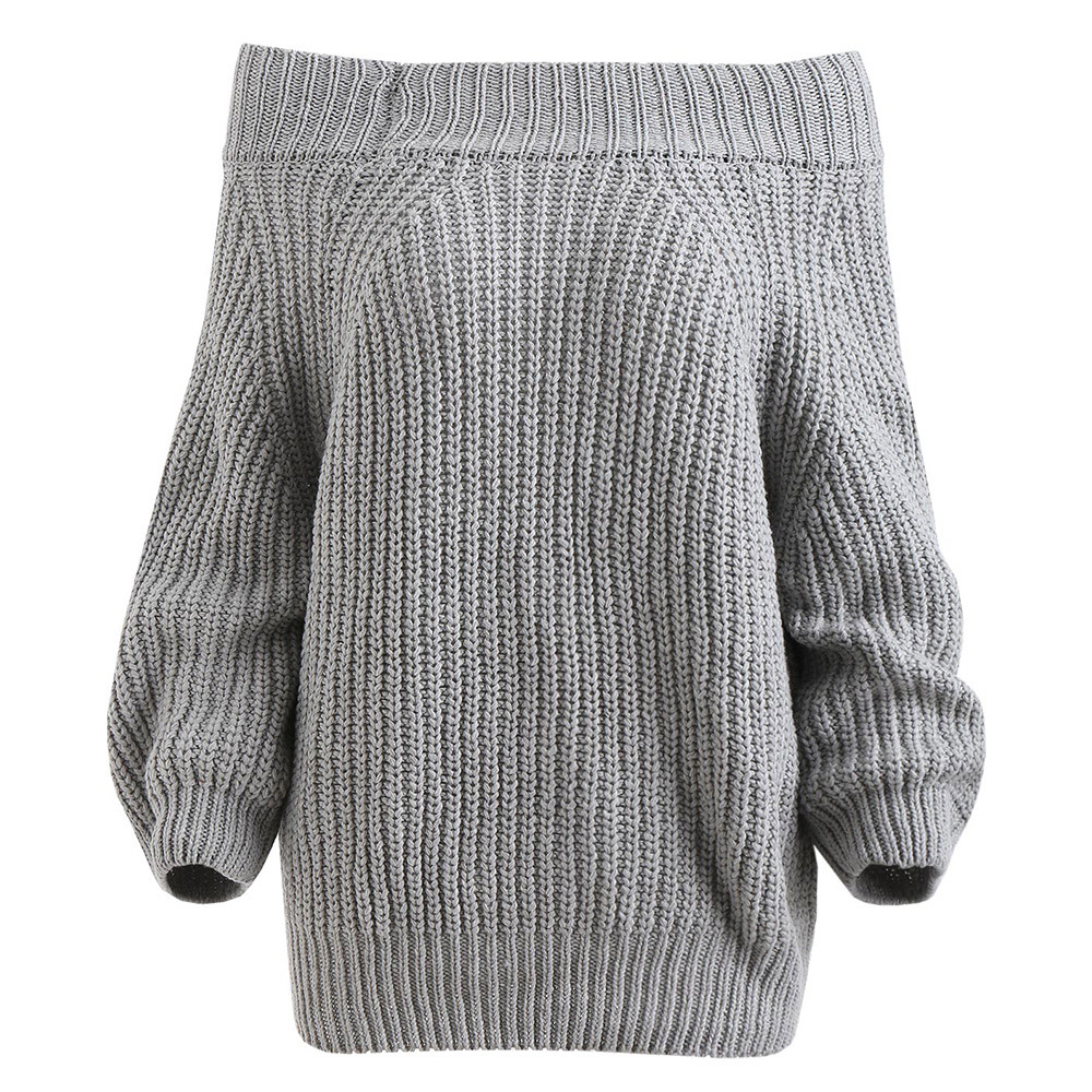 Off The Shoulder Sweater Pullover Chunky Women Solid Color Long Sleeve Casual Sweater 2019 Winter Pullovers Femme Knit Wear