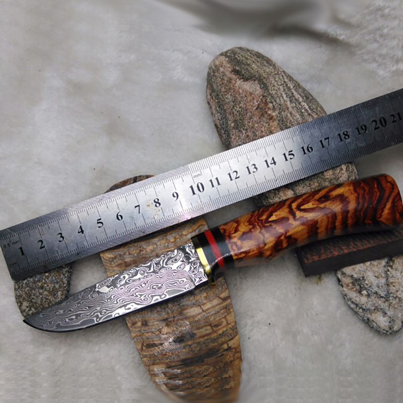 Free shipping Handmade Forged Damascus Hunting Knife Camping Survival Knife Fixed Blade Tactical Knife Cocobolo Hanlde Brown integral forming bamboo pure handmade small survival camping knife tactical fixed blade knife hunting knives damascus vg10 steel