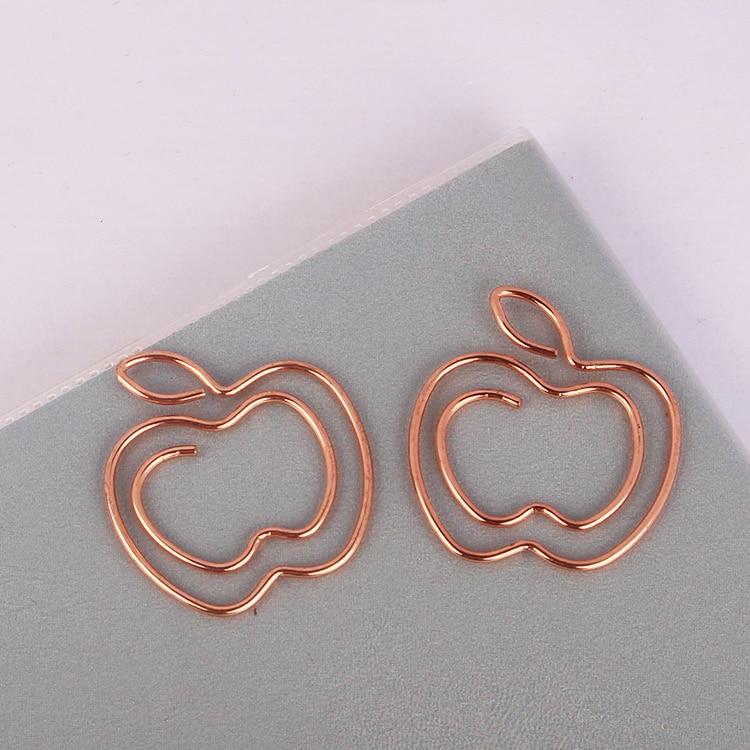 Rose Gold Apple Paper Clip Fruit Pin Fashion Paper Clip Lovely Office Accessories Paper Bookmark Bureau Accessoires Metal Clip
