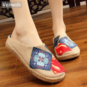 Image 1 - Veowalk Tay Phụ Nữ Mùa Hè Gần Mũi Giày Vải Lanh espadrilles Dép Cao Cấp Trung Quốc Nghệ Sĩ Nữ Thêu Giày Trượt Giày