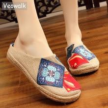 Veowalk اليدوية الصيف النساء خف مغلق من الأمام الكتان قماشية النعال الراقية الفنان الصيني المطرزة السيدات أحذية الانزلاق عادية