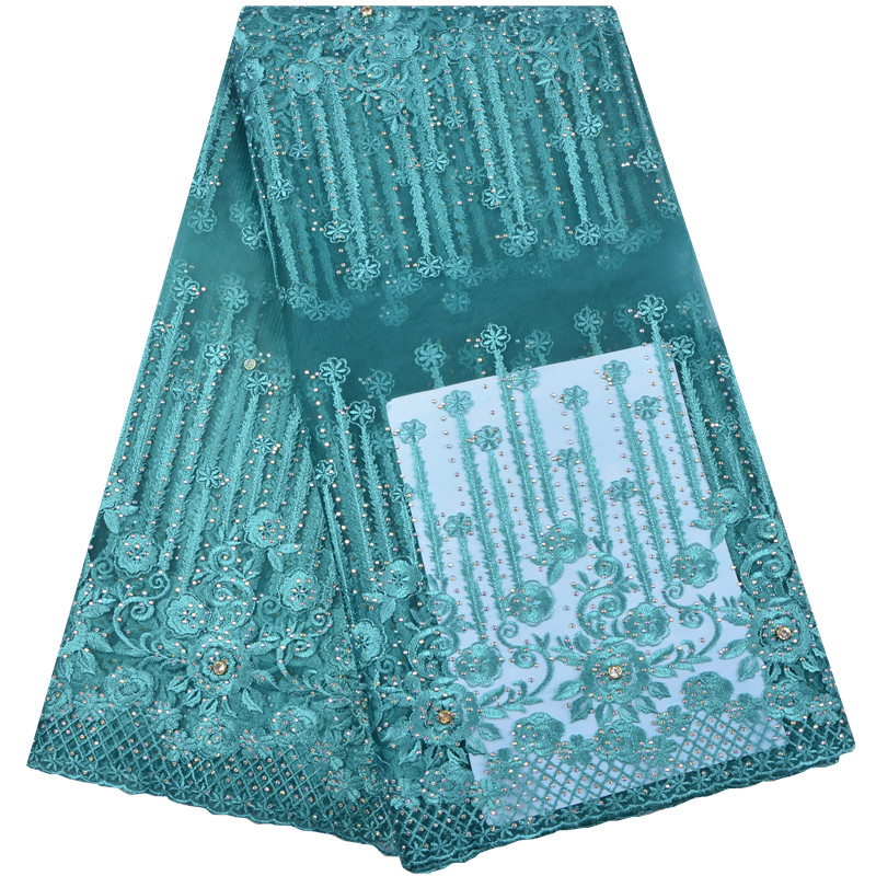 New Style Flowers And Precious Stones High Quality African Embroidered Tulle Lace Fabric For 2018 Wedding