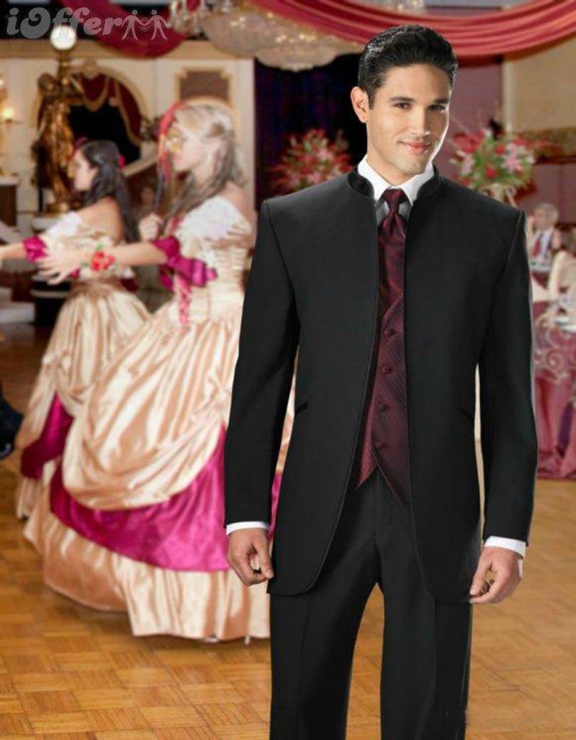 Classic Design Men\'s Dinner Party Suits Vertical Collar Black Men ...