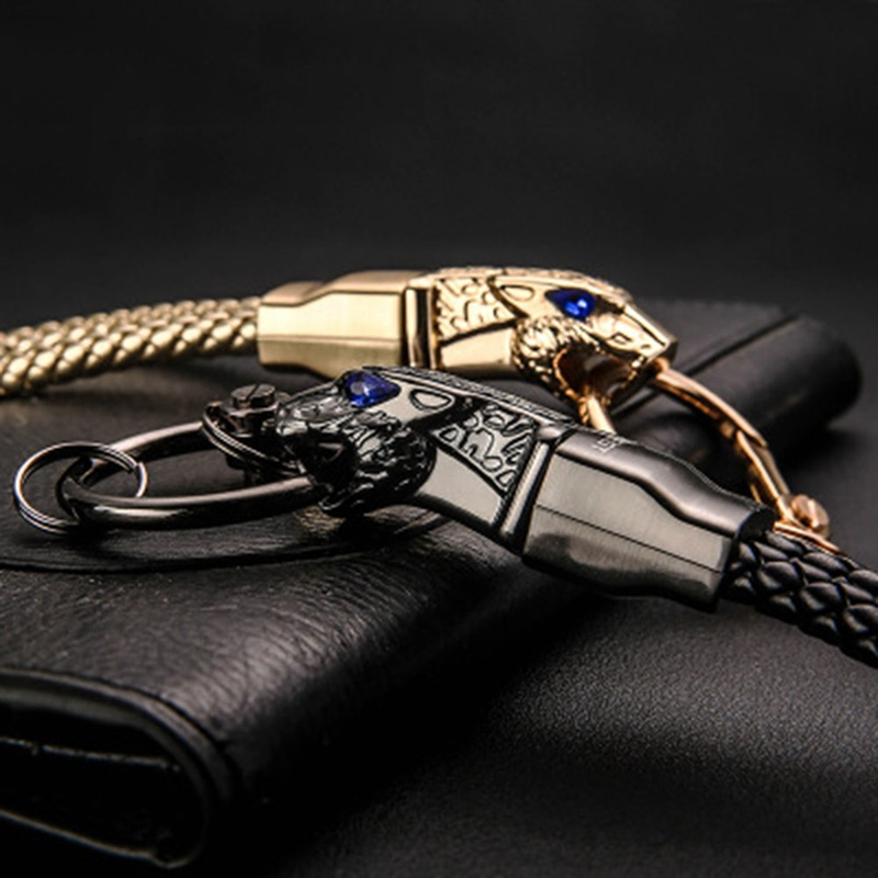 New Design All Metal Leopard Head Shaped Keychain Car Key Ring For Men Jewelry Accessories