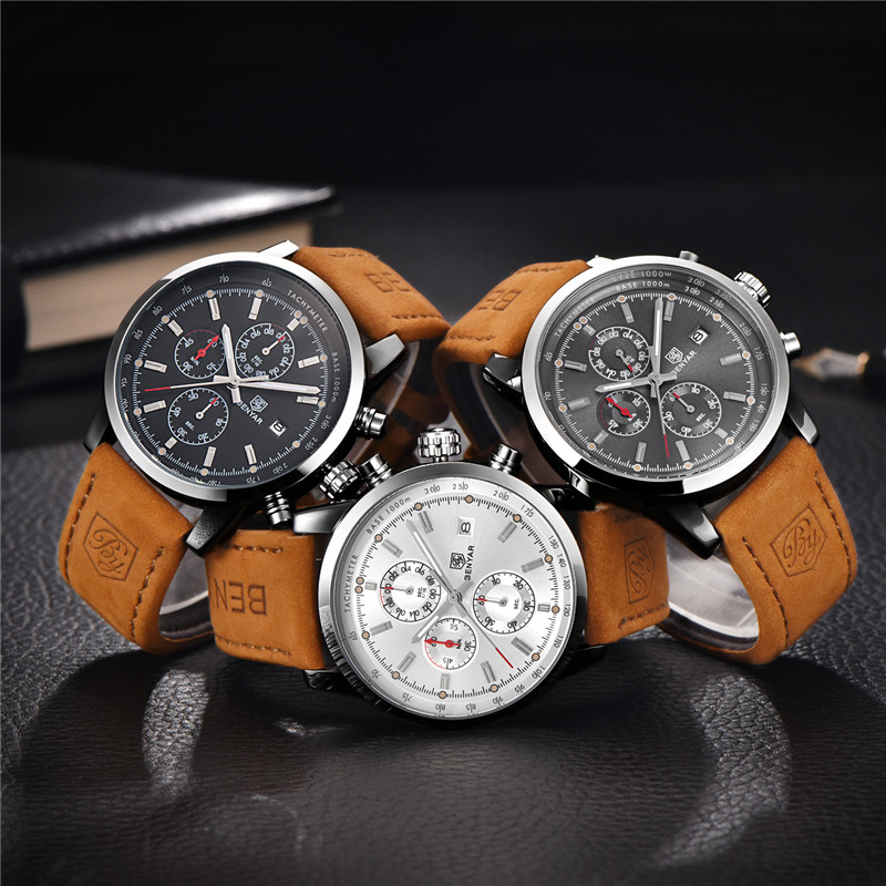 Image 4 - Relogio Masculino BENYAR Watches Mens Top Luxury Brand Chronograph Sport Man Watch Military Leather Clock Quartz Wristwatch 5102-in Quartz Watches from Watches