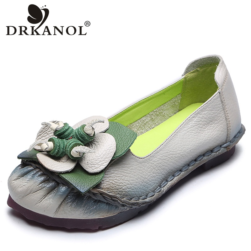 DRKANOL Autumn Handmade Genuine Leather Flats Shoes Women Slip On Flat Loafers Women Casual Shoes Vintage Moccasins Mother Shoes 2018 autumn new vintage casual handmade shoes woman flats genuine leather fashion women shoes slip on women s loafers moccasins