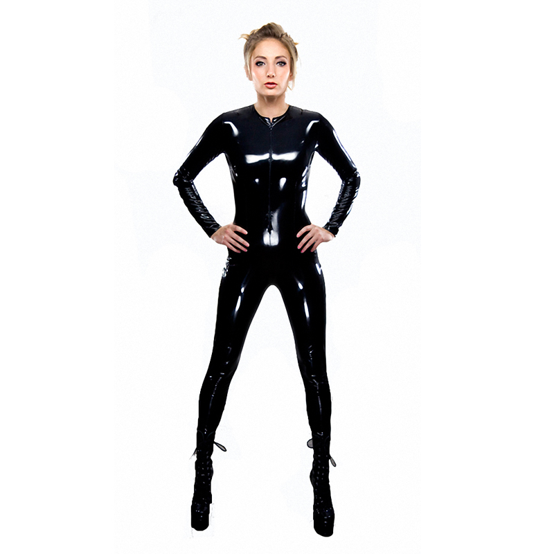 Wrap around the body latex catsuit 2016 PVC Black Cat Cosplay Classic Catsuit