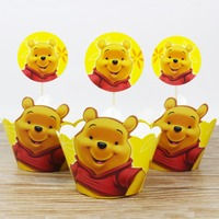 24pcs Winnie the Pooh Party Paper Cupcake wrappers toppers for kids party Birthday decoration cake cups(12 wraps+12 topper)