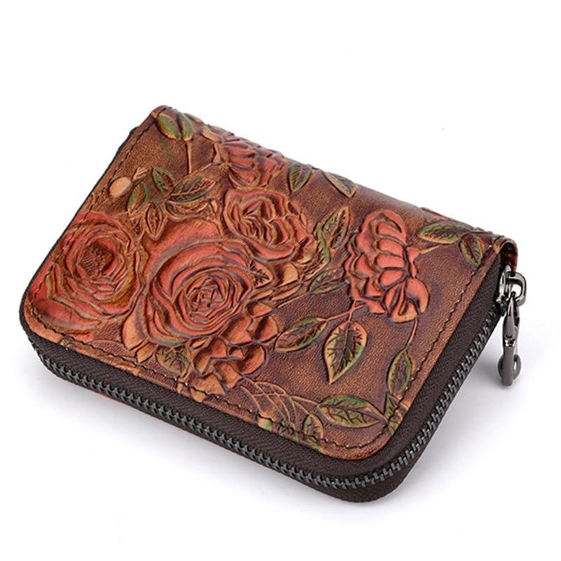 Women Zipper Short Wallet Credit/ID Card Holder Flower Pattern Genuine Leather Female Coin Pocket Clutch Money Bag Bifold Purse