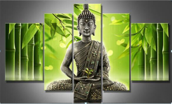 2017 Handmade 5 Pieces Set Modern Bamboo And Buddha Picture Wall Painting  Canvas Living Room Hanging