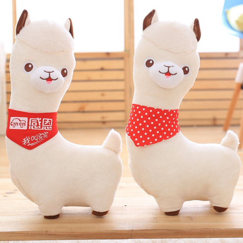 1pcs 40cm Simulation creative 3D Red scarf Alpaca Plush Toy dolls  Soft  camel  Stuffed kawaii Toy Gifts for kids and Girls