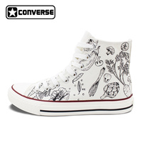 Classic White Converse All Star Hand Painted Shoes Design Vegetables Patterns Gifts For Men Women High