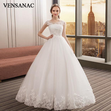 VENSANAC Ball Gown Crystal Illusion O Neck Lace Appliques Wedding Dresses 2018 Pearls Tulle Backless Bridal Dress