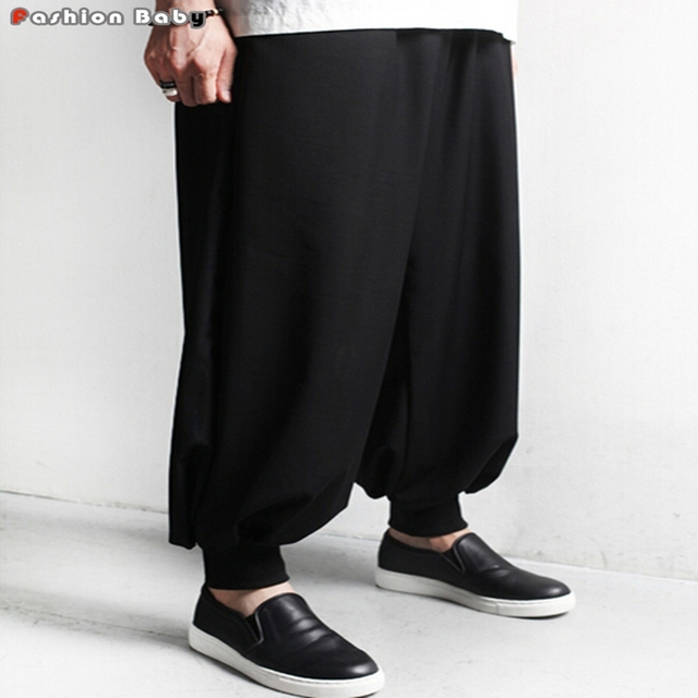 Men's Loose Dropped Crotch Casual Pant Black Brand Fashion Pockets Wide Leg Pants Original Design 2016 New Size M-6XL