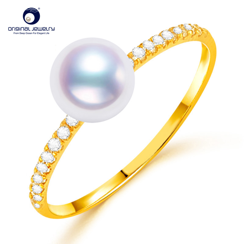 [YS] 18K Gold Proposal Ring Jewelry 6-6.5mm AAA Quality Natural White Akoya Pearl Ring цены онлайн
