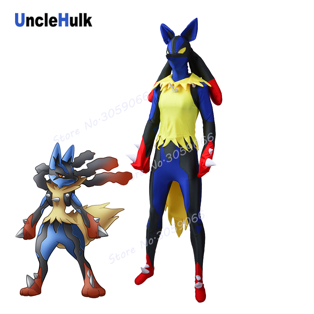 Mega Lucario Costume Game Pokemon Black and Blue Spandex Lycra Zentai Costume | UncleHulk