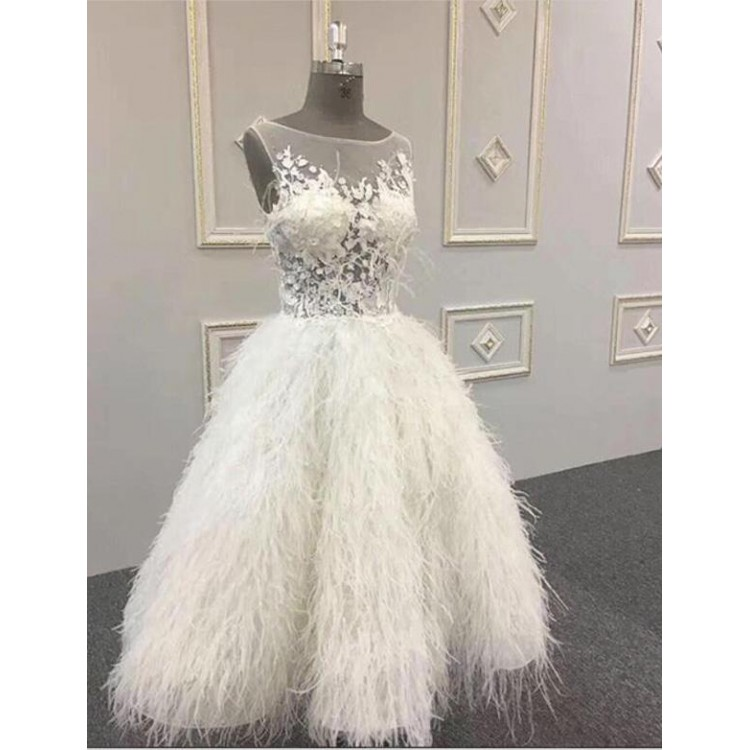 White 2019   Prom     Dresses   A-line Tea Length Feather Lace Women Party Maxys Short   Prom   Gown Evening   Dresses   Robe De Soiree