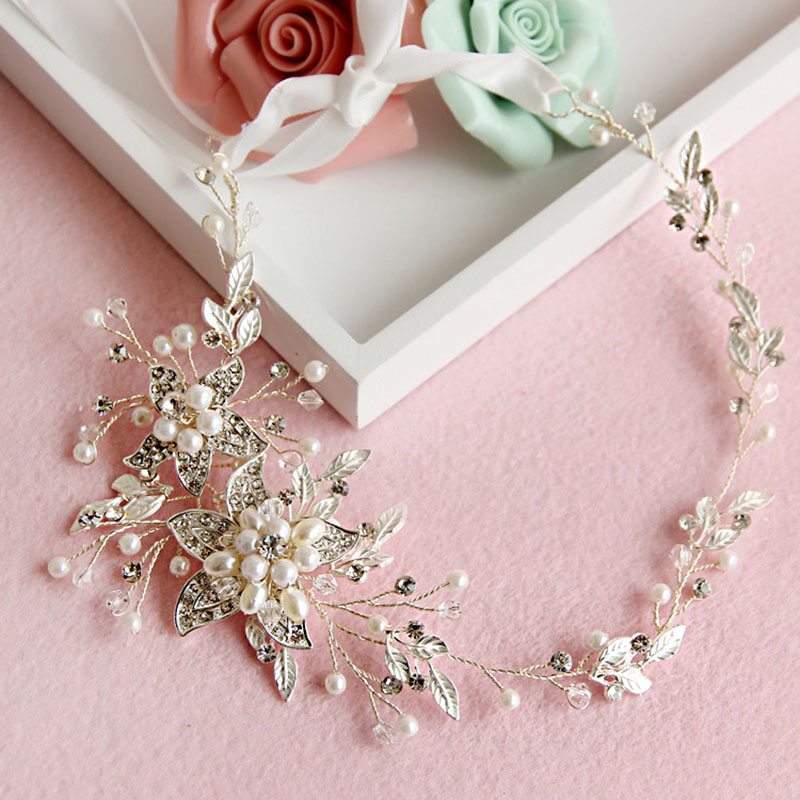 Bridal Wedding Flower Beauty Hair Jewelry Women Simulation Pearl Charm Headband Ladies Luxury Shining Rhinestone Headpieces image
