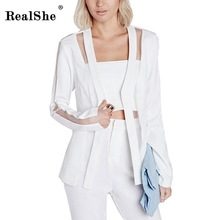 RealShe 1 Шт. Сетки женская Мода Лето Стиль Sexy Улица Блейзер Feminino Женщины Белый Пиджак девушки Пиджаки