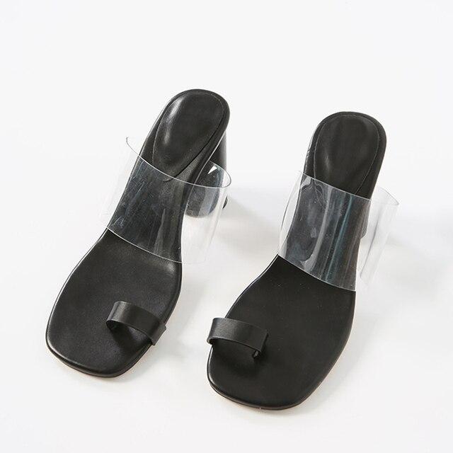 ISNOM Transparent PVC Slides Summer Flip Flop Slippers Woman 2019 New Women Strange Style Slides Shoes White Mules Shoes Female