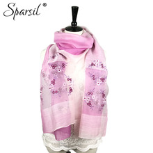 Sparsil Women's Summer Small Floral Embroidered Silk Scarf Long Shawl High Quality Fashion Wool Scarves Ladies Wraps