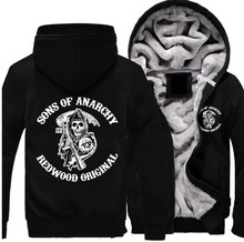 Hot New Sons of Anarchy Samcro Sitcoms Jax Thicken Hoodie Anime Zipper Coat Jacket Winter Fleece  Sweatshirts Free Shipping