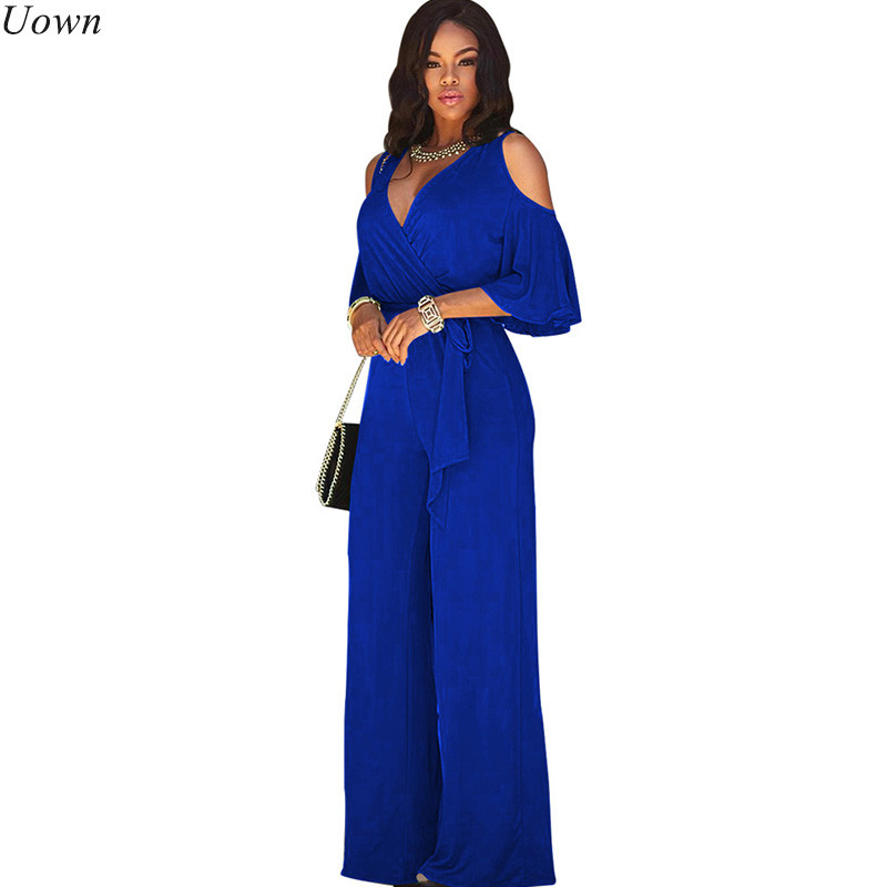 Black Loose Wide Leg   jumpsuits   for Women V-neck Hollow Out Short Sleeve Casual Elegant Romper Overalls Combinaison Femme