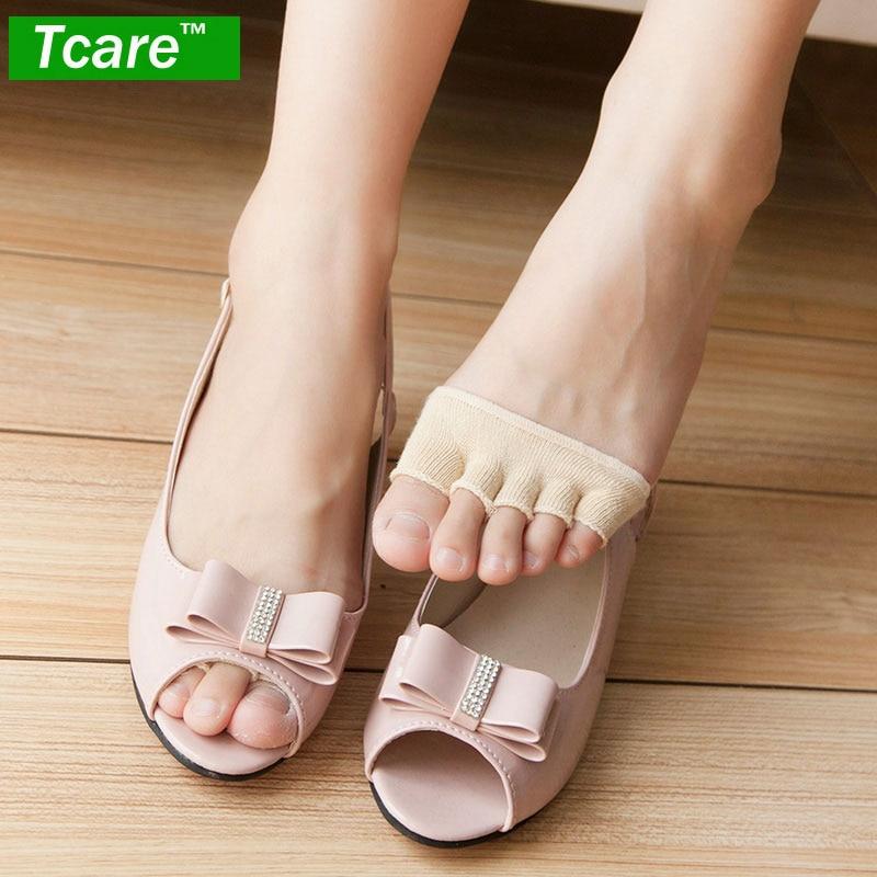 1Pair Toe Socks Cotton Non Slip Women 39 s Toe Toppers Socks Toe Separating Socks No Show Half Socks Barre Pilates Yoga Half Palm in Braces amp Supports from Beauty amp Health