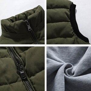 Image 5 - Chaleco grande 4XL 8XL para hombre, chaleco de trabajo informal a la moda, cálido, con capucha y cremallera, color sólido, sin mangas, 3ZWJ14, 2019