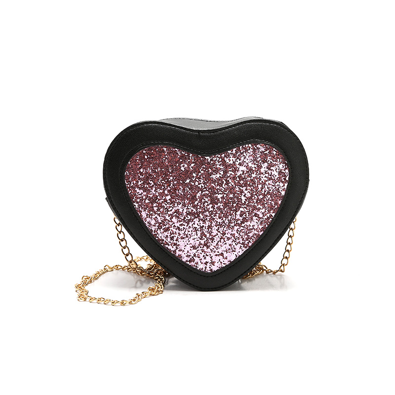 Zhierna 2017 новое поступление Дамская мода мелких блесток Crossbody сумка из искусственной кожи Для женщин сердце Форма цепь сумка