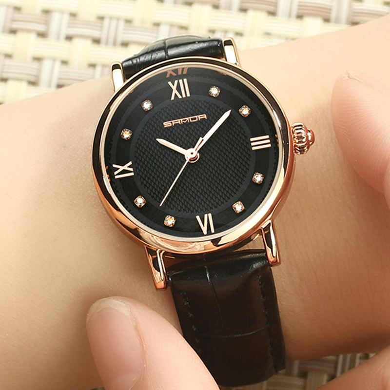SANDA Brand Fashion Leather Bracelet Watches Women Diamond Elegant Dress Wrist watch Geneva Casual Gold Ladies Clock 2018 Saat popular brand watch women gold bracelet weave leather
