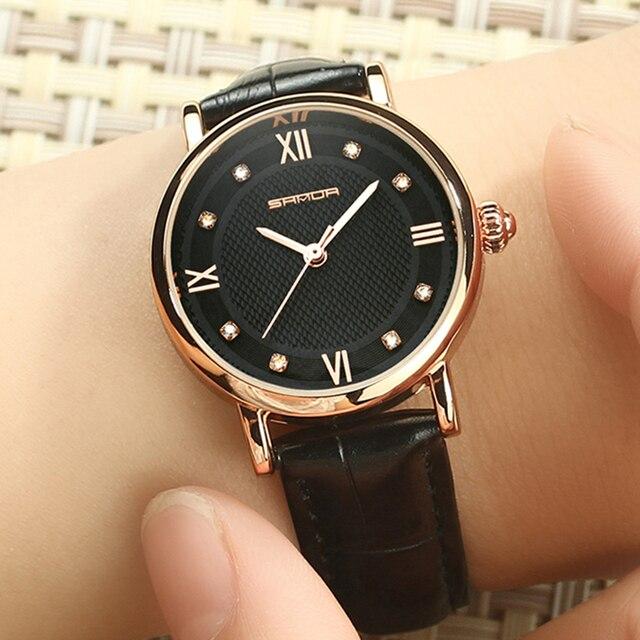 SANDA Brand Fashion Leather Bracelet Watches Women Diamond Elegant Dress Wrist w