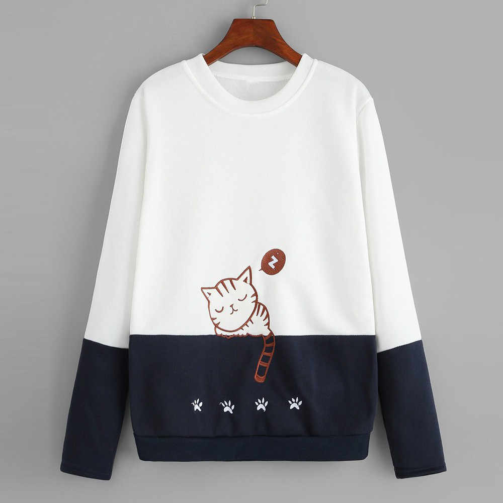 Women sweatshirt hoodies kawaii cat Printed Embroidery  Casual Patchwork Blouse Top Pullover Autumn Spring women Sweatshirt 2019
