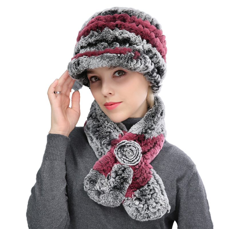 Women Real Rex Rabbit Fur Peaked Caps With Fox Fur Ball Hand-Woven Winter Scarf Warm Soft Hats With A Brim Elegant