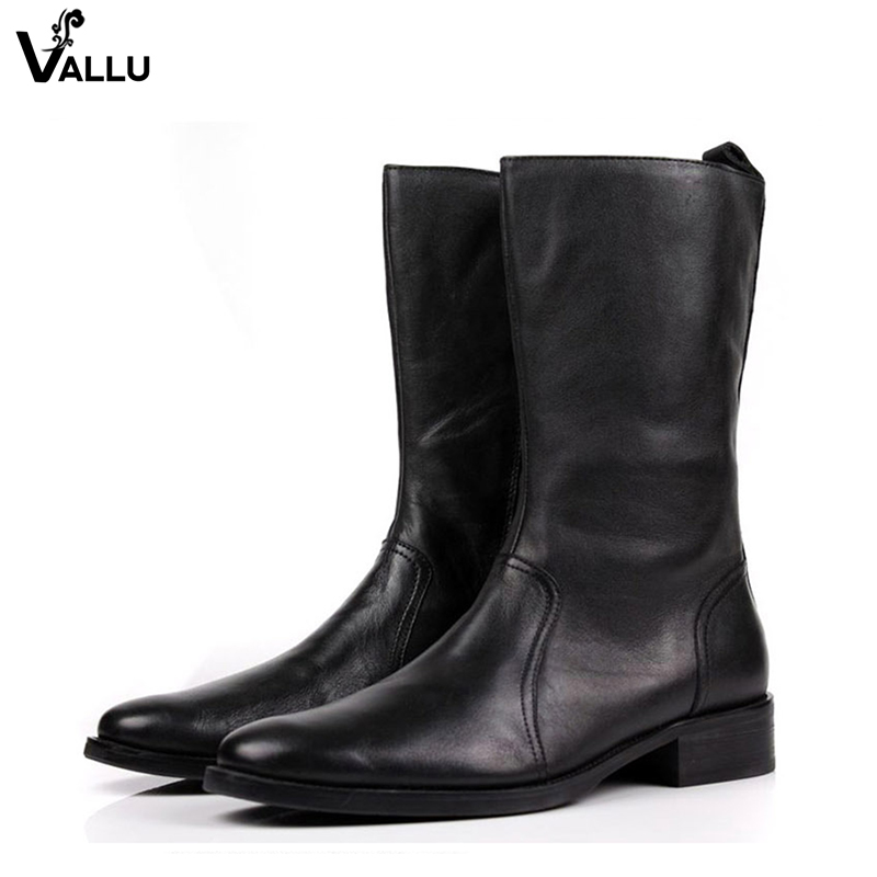 Winter Black Mid-Calf Boots For Men European Fashion Cow Leather Male Martin Boots Handmade Zip Quality Low Heel Men' s Shoes distressed blue jeans men latin cow brand clothing mid stripe luxury denim destoyed men s moto biker jeans ripped uomo 802 c
