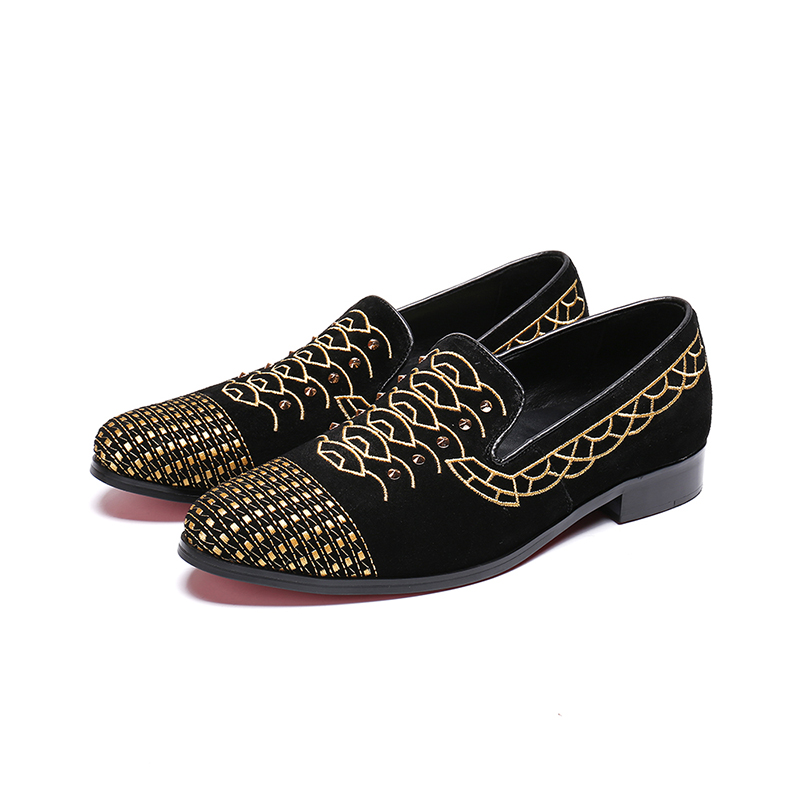 Men Flats Gold Embroidered Men Loafers Black Sueded Men Shoes Luxury Brand Runway Star Fashion Shoes Low Top Zapatillas Hombre
