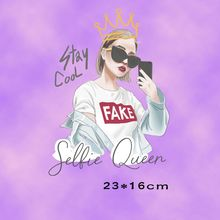 Buy 23x16cm New Fashion girl Iron On Patches Stickers Washable Appliques A-level Patch Heat Transfer For DIY Accessory Clothing directly from merchant!