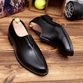 LIN KING New Arrival Men Leather Shoes Brogues Slip-on Bullock Business Men Oxfords Shoes Massage Soft Walking Male Dress Shoes