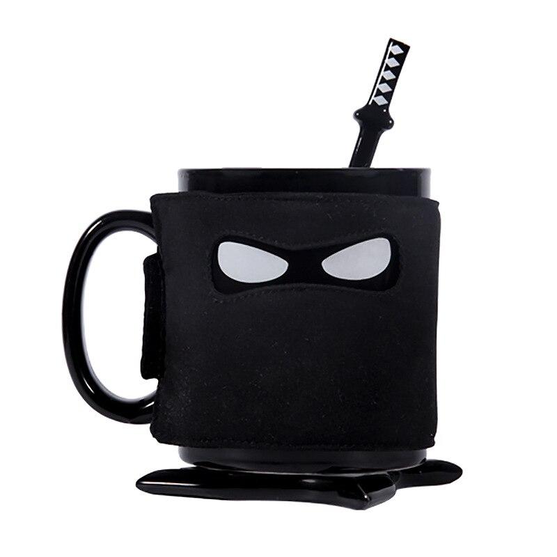 Disciplinato Creativo Ninja Tazza Di Caffè Nero Maschera Di Tazza Di Ceramica Con La Spada Sottobicchieri Cucchiaio Latte Di Caffè Di Ceramica Tazze Da Tè