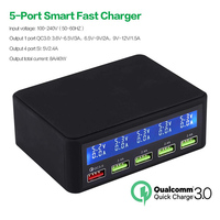 50W 5 Port USB Fast Charger with QC 3.0 Quick Charge LCD Smart Charging Station Hub for Smartphone,Tablet